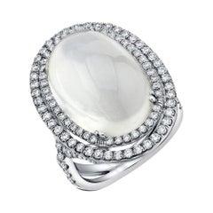 14.21 Carat Tanzanian Blue Flash Moonstone Diamond 18k White Gold Cocktail Ring