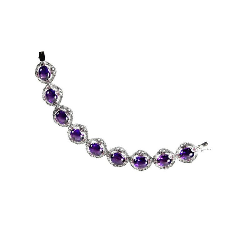 14.22 Carat Amethyst Diamond Ruby Statement Gold Bracelet In New Condition For Sale In Montreal, QC