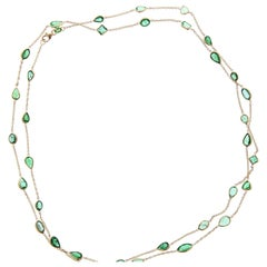 14.22 Carat Mixed Cut Emerald Necklace in 14K Yellow Gold