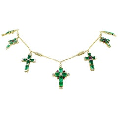 14.23 Carat Emerald Crosses with Diamonds and Ruby Charms Necklace