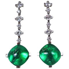 14.23 Carat Natural Emerald and 3.12 Carat Diamond White Gold Earrings