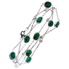 14.23 Carat Natural Emeralds Diamonds Yard Necklace 14 Karat