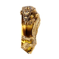142.5ct Citrine and Rubies 18k Gold Climbing Dragon Pendant, John Landrum Bryant