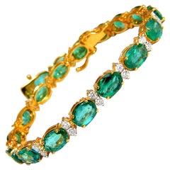 14.26 Carat Bright Vivid Green Natural Emerald Diamonds Tennis Bracelet 14 Karat