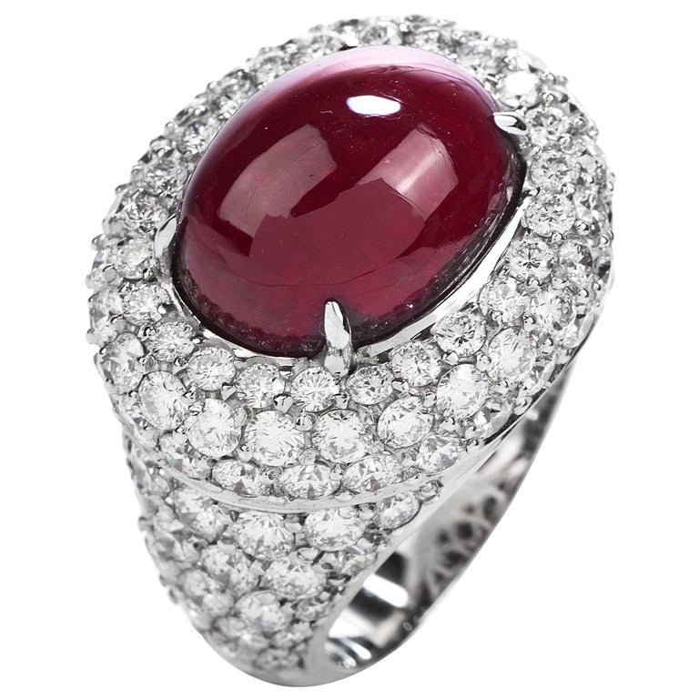 14.26 Carat Cabochon Ruby Diamond 18 Karat Gold Halo Cocktail Ring For Sale