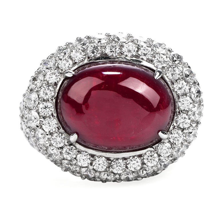Modern 14.26 Carat Cabochon Ruby Diamond 18 Karat Gold Halo Cocktail Ring For Sale