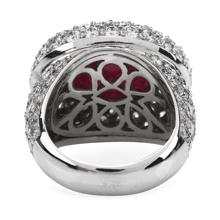 Women's or Men's 14.26 Carat Cabochon Ruby Diamond 18 Karat Gold Halo Cocktail Ring For Sale