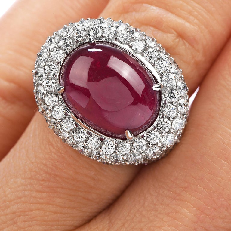 14.26 Carat Cabochon Ruby Diamond 18 Karat Gold Halo Cocktail Ring For Sale 1
