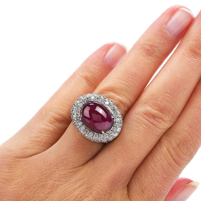 14.26 Carat Cabochon Ruby Diamond 18 Karat Gold Halo Cocktail Ring For Sale 2