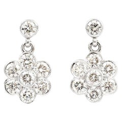 1.42 Carat Diamond Daisy Drop 18 Karat White Gold Earrings