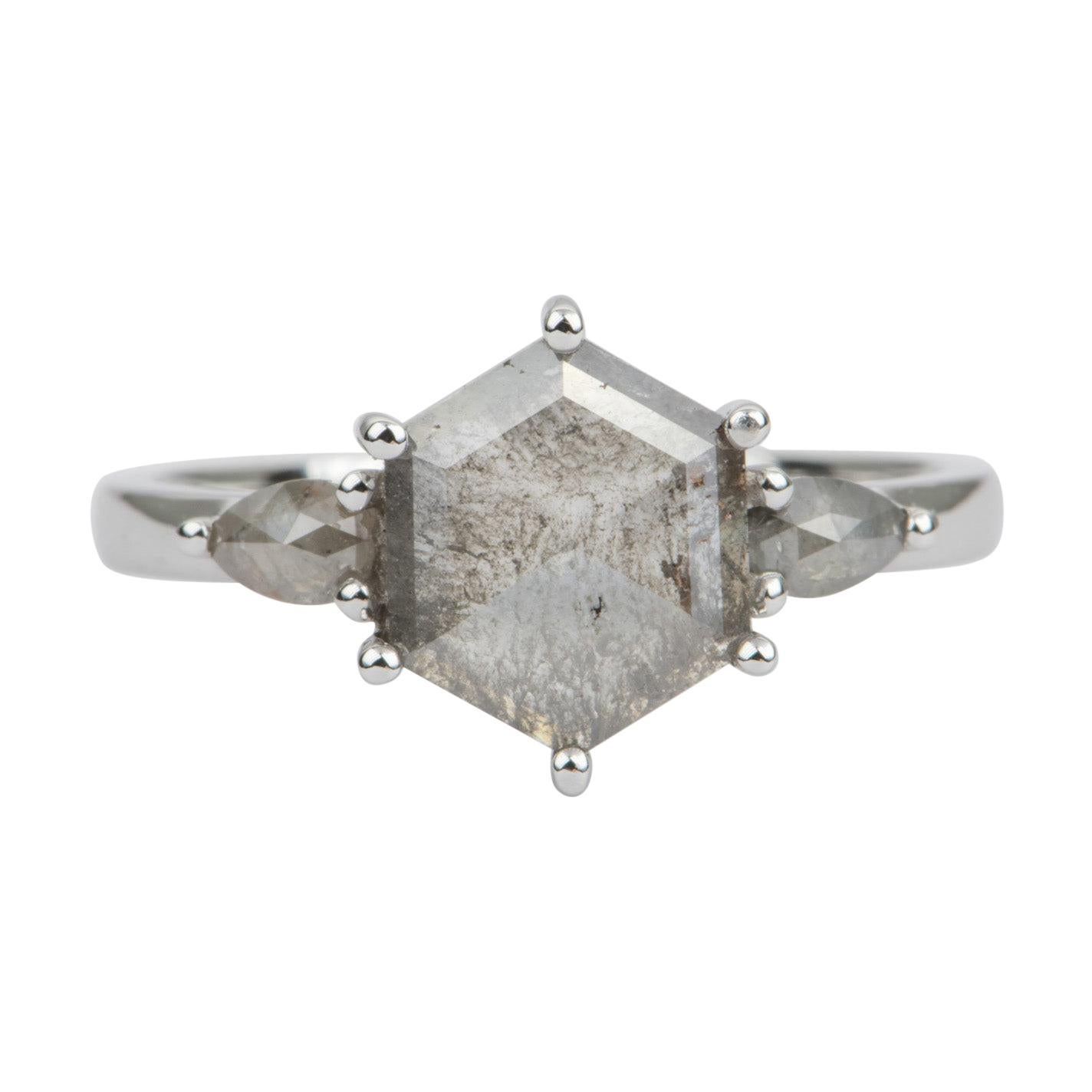 1.42ct Hexagon Salt and Pepper Diamond 14k White Gold Engagement Ring AD1895-4