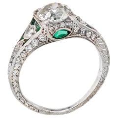 1.43 Carat Circular Brilliant Cut Diamond Platinum Art Deco Engagement Ring
