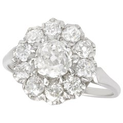 1.43 Carat Diamond and Platinum Cluster Ring