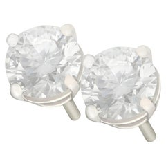 1.43 Carat Diamond and Platinum Stud Earrings
