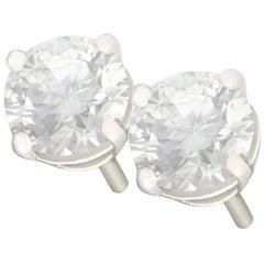 1.43 Carat Diamond and Platinum Stud Earrings