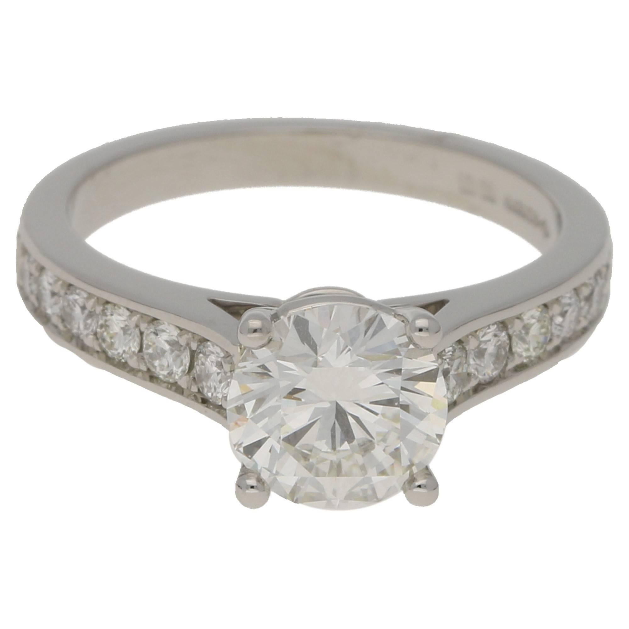 Diamond Single Stone Engagement Ring 1.43 Carat