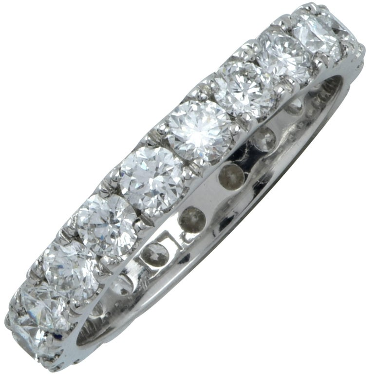 1.43 Carat Diamond Wedding Eternity Platinum Band For Sale