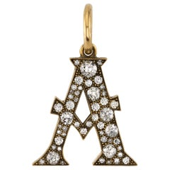 "1.43 Carat Mixed Cut Diamonds Set in a Yellow Gold Letter ""A"" Pendant"