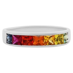 1.43 Carat Multi-Color Sapphire Rainbow Band Ring