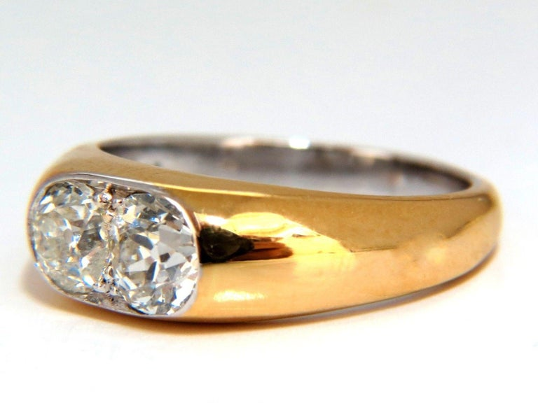 Vintage Revisit Solitaire Twin  .78 & .65ct. Natural Round brilliant diamond ring.  Old Mine cut Mounted with graver tools by hand in french pave style.  Si-1 clarity / J color.  6.6mm Diameter  4mm depth  14kt. yellow gold 5.5 Grams  Current ring