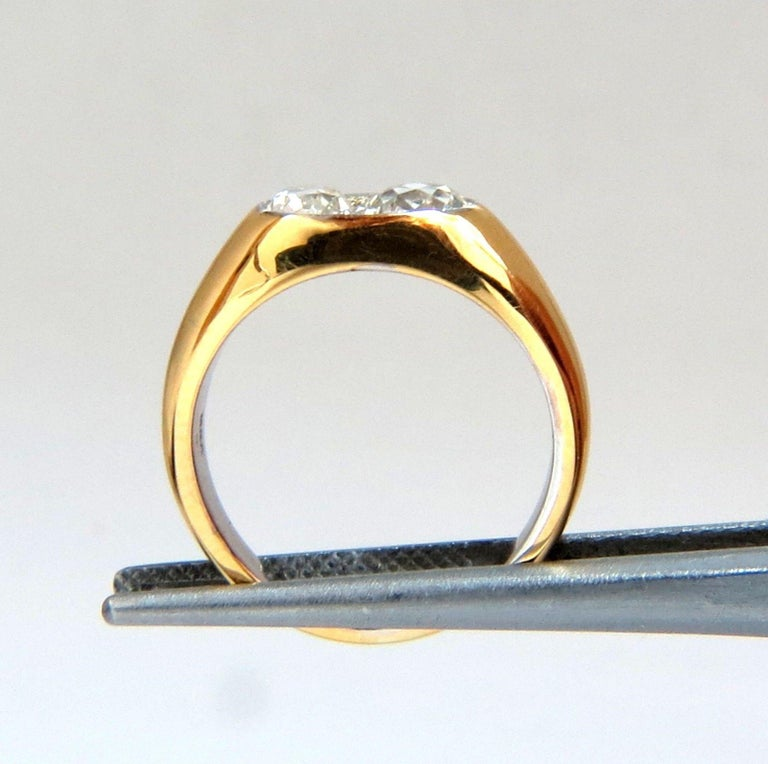 Round Cut 1.43 Carat Natural Old Mine Cut Diamonds Twin Solitaire Ring For Sale