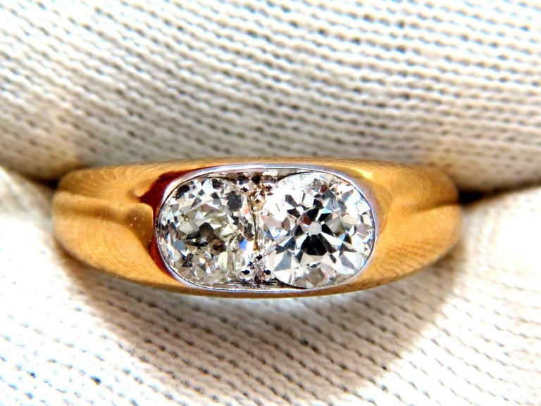 1.43 Carat Natural Old Mine Cut Diamonds Twin Solitaire Ring In New Condition For Sale In New York, NY