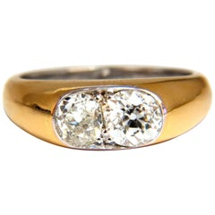 1.43 Carat Natural Old Mine Cut Diamonds Twin Solitaire Ring