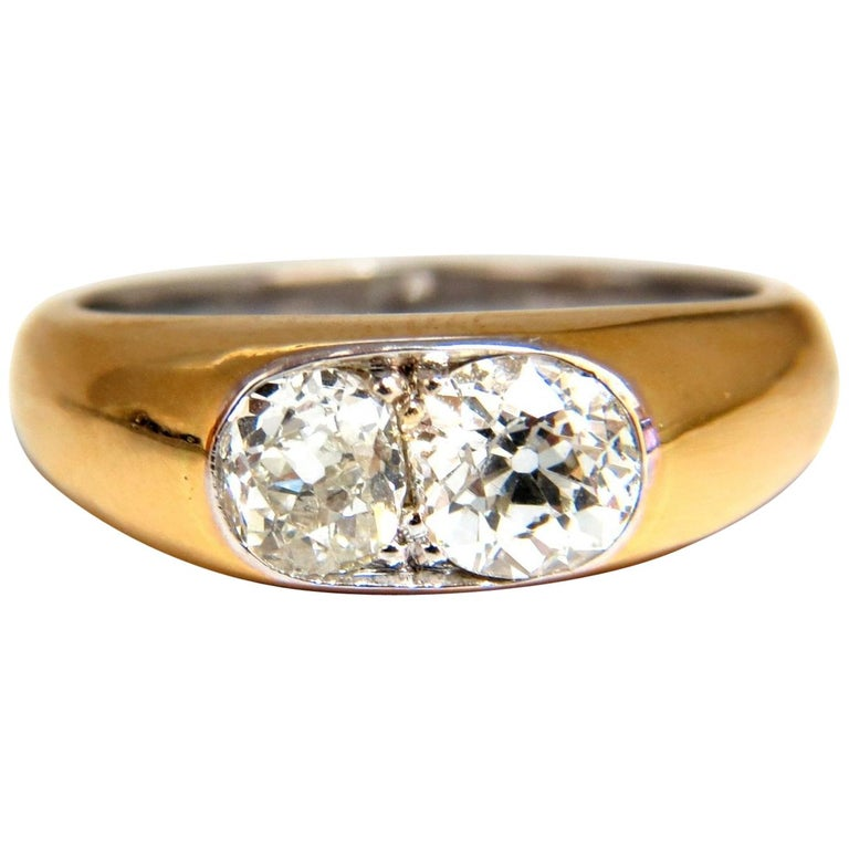 1.43 Carat Natural Old Mine Cut Diamonds Twin Solitaire Ring For Sale