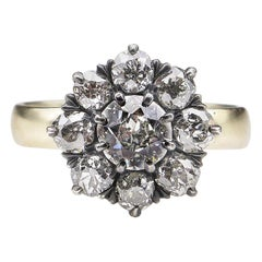 1.43 Carat Old European Diamond Cluster Yellow Gold Silver Ring EGL USA