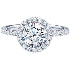1.43 Carat Round Brilliant I SI1 Diamond 'GIA' 18 Karat White Gold Halo Ring