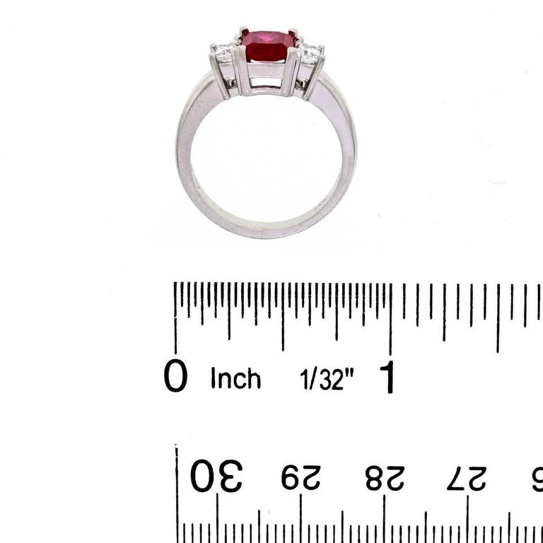 1.43 Carat Ruby and Diamond Set Gold Ring For Sale 2
