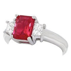 1.43 Carat Ruby and Diamond Set Gold Ring