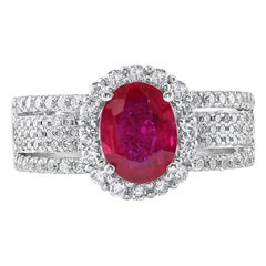 1.43 Carat Ruby and Diamond White Gold Cocktail Ring