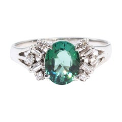 1.43 Carat Teal Oval Tourmaline and Diamond 18 Carat White Gold Vintage Ring