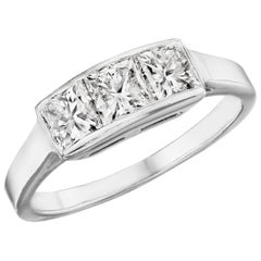 1.43 Carat 'total weight' Radiant Cut Diamond 3-Stone Channel Ring in Platinum