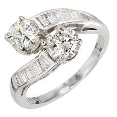 1.43 Carat Two Round Diamond Bypass Platinum Engagement Ring