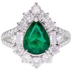 1.43 Carat Vivid Green Zambian Emerald Classical Bridal Ring