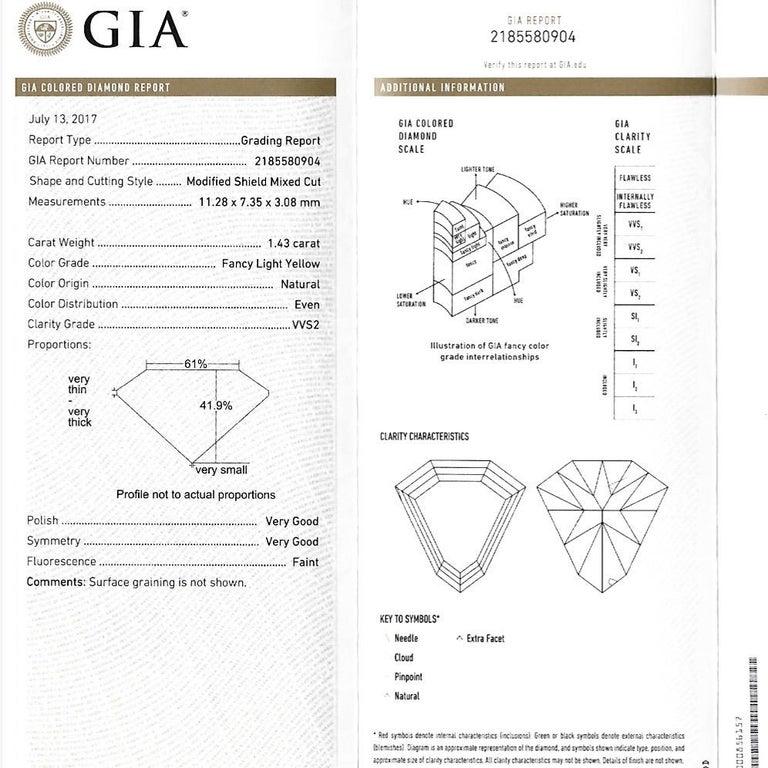 1.43 Ct. VVS2 GIA Fancy Yellow Shield Cut Diamond, Unheated Blue Sapphire Ring For Sale 10