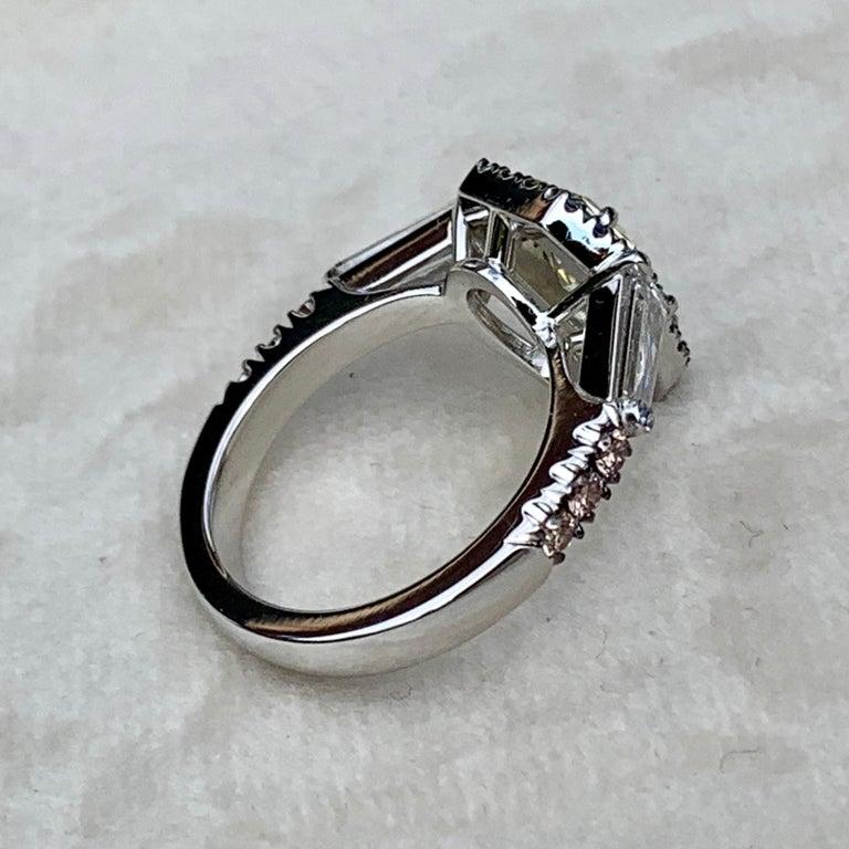 1.43 Ct. VVS2 GIA Fancy Yellow Shield Cut Diamond, Unheated Blue Sapphire Ring For Sale 1
