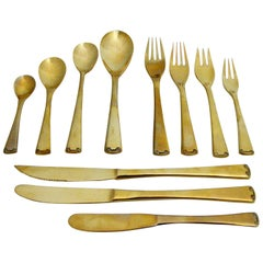 143 Piece Brass Plate Flatware with Service for Twelve and Twelve Serving Pieces