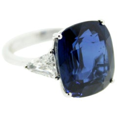 14.30 Carat Cushion Blue Sapphire and Side White Trillon Diamond Engagement Ring