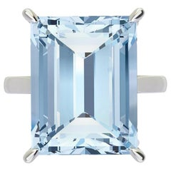 14.69 Carat Emerald Cut Aquamarine Platinum Cocktail Ring