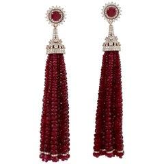 143.07 Carat Ruby Diamond 18 Karat Gold Tassel Earrings