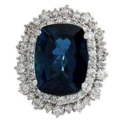 14.32 Carat Natural Topaz 18 Karat White Gold Diamond Ring