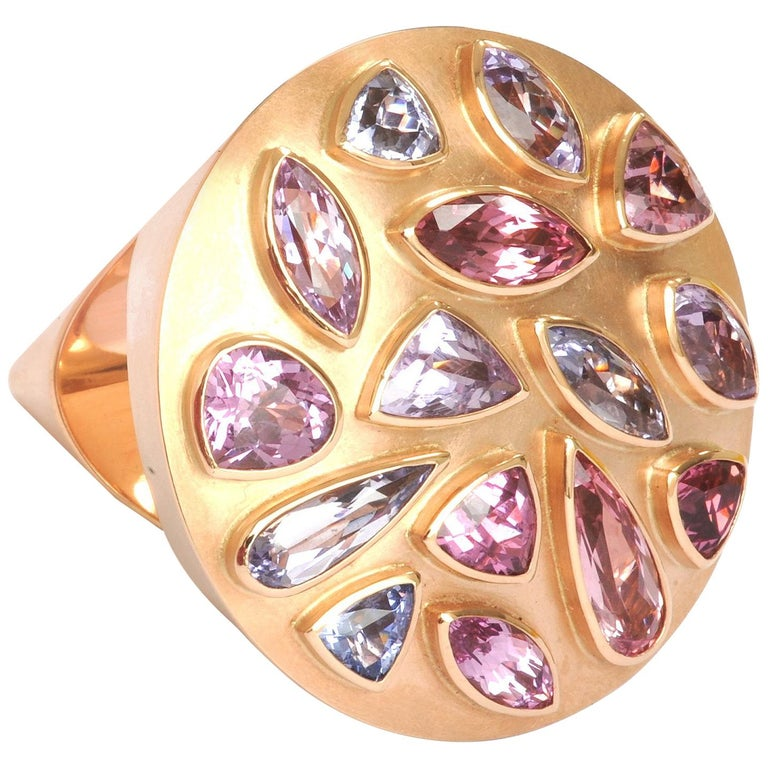 "14.32 Carat Spinels Red Gold ""Cone"" Ring by Georg Spreng For Sale"