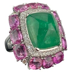 14.35 Carat Sugarloaf Emerald and Pink Sapphire and Diamond Cocktail Ring