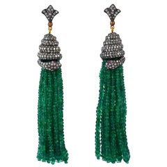 143.75 Carat Emerald Diamond Tassel Snake Earrings