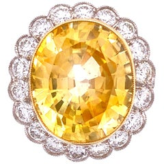 14.39 Carat Yellow Sapphire and Diamond Art Deco Style Platinum Ring Fine Estate
