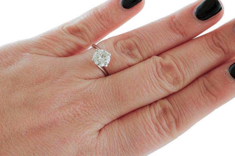 Women's 1.43 Carat Diamond, 18 Karat White Gold, Solitaire Ring For Sale