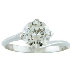 1.43 Carat Diamond, 18 Karat White Gold, Solitaire Ring